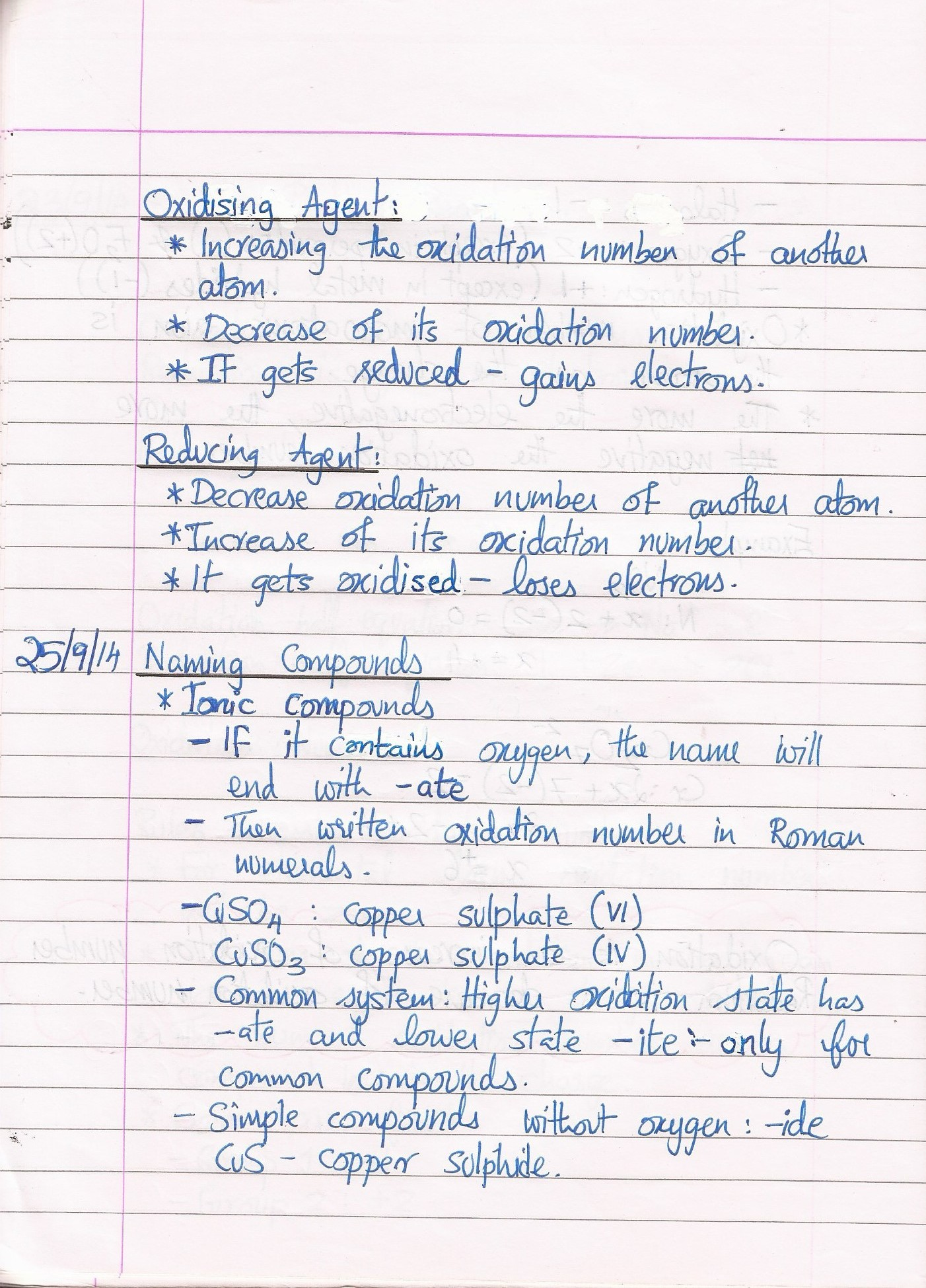 Redox Reactions Cie Revise