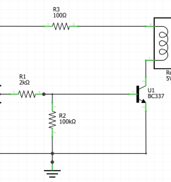 this circuit is for a 5v relay to be attached to an arduino nano the first version is a recommendation that i found on the internet  [ 1118 x 818 Pixel ]