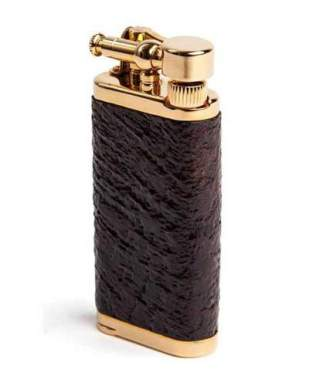 Corona Old Boy Gold Plate With Sandblast Briar Wood Pipe Lighter