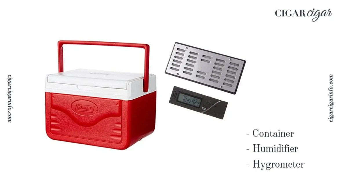 container, hygrometer ans humidifier to make your own humidor