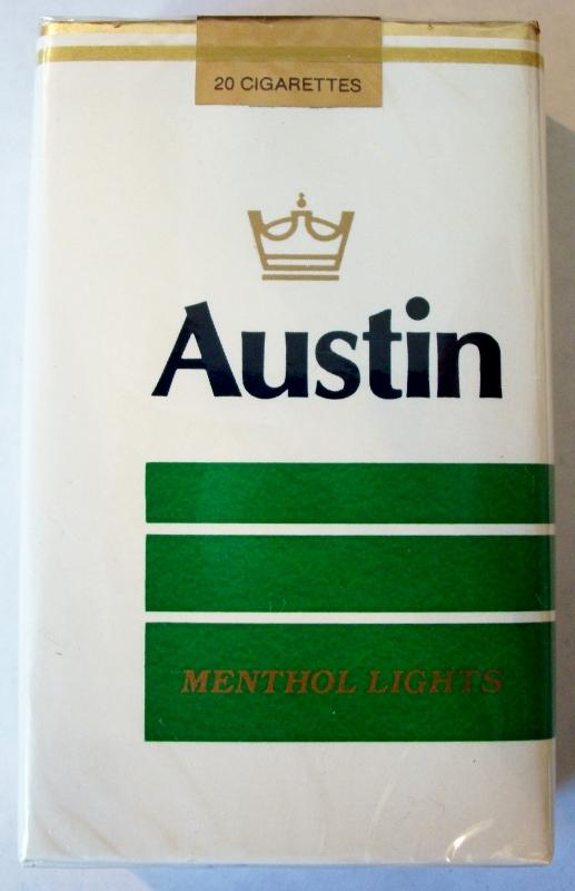 Austin Menthol Lights, King Size - vintage American Cigarette Pack