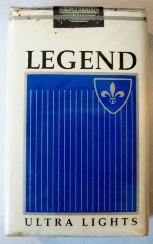 Legend Ultra Lights, King Size - vintage American Cigarette Pack