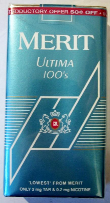 Merit Ultima 100's - vintage American Cigarette Pack
