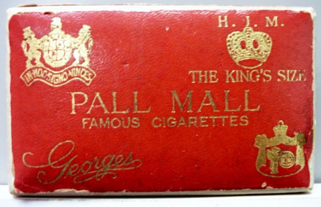 Pall Mall Georges, The King's Size - vintage American Cigarette Pack