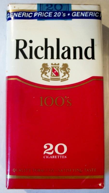Richland 100's - vintage American Cigarette Pack