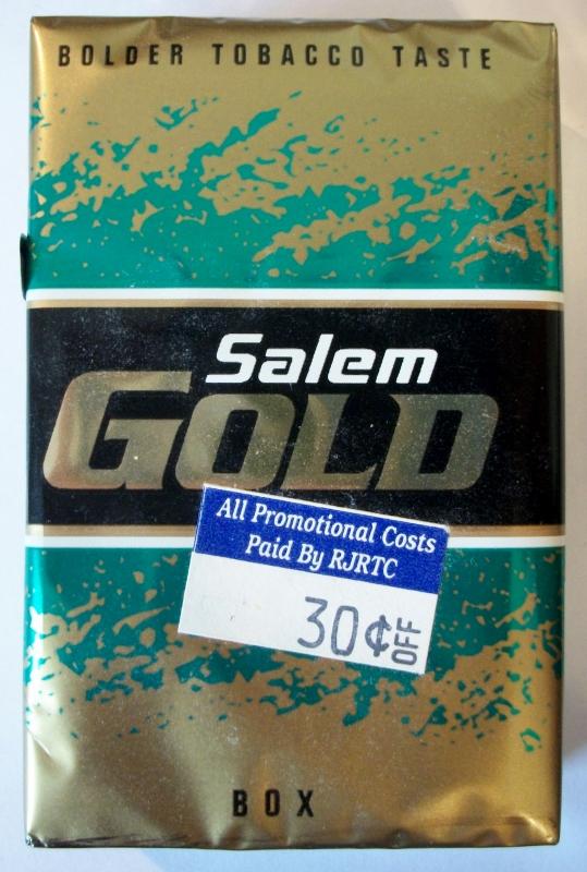 Salem Gold Box, King Size - vintage American Cigarette Pack