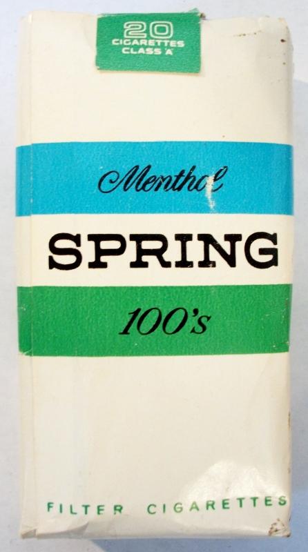 Spring 100's Menthol, Filter King Size (1966-1970) - vintage American Cigarette Pack