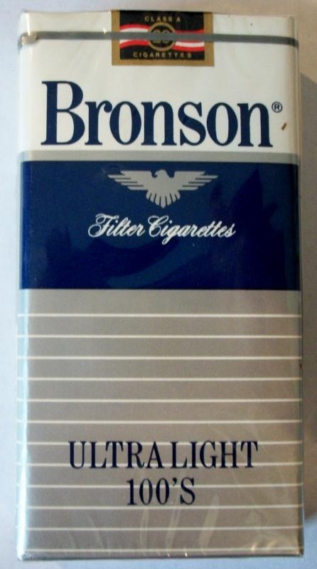 Bronson Ultra Light Filter 100's - vintage American Cigarette Pack