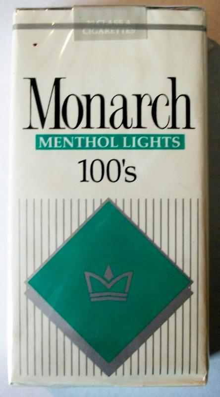 Monarch Menthol Lights 100's - vintage American Cigarette Pack