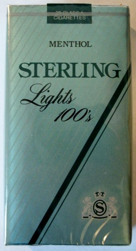 Sterling Menthol Lights 100's - vintage American Cigarette Pack