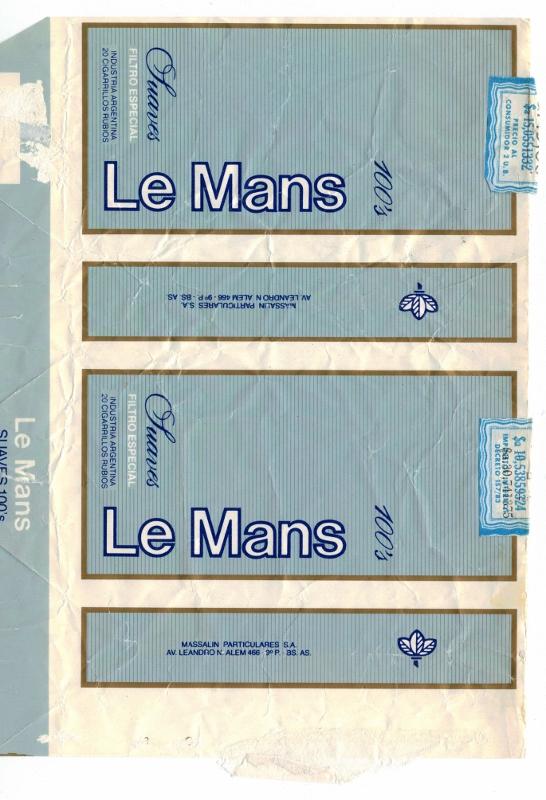 Le Mans Suaves Filtro 100's - vintage Argentinian Cigarette Pack