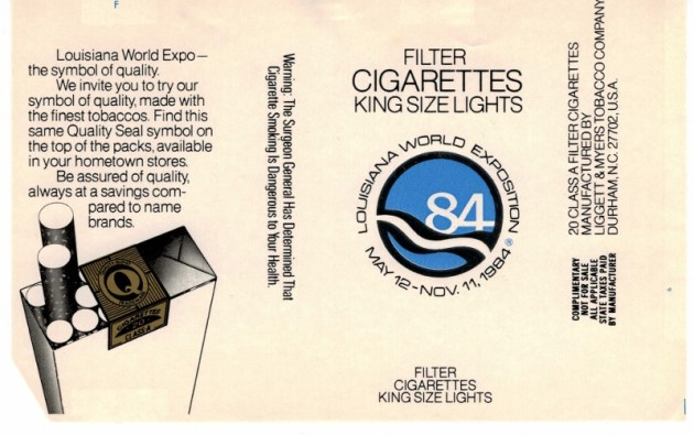 Louisiana World Exposition 1984 Filter Lights - vintage American Cigarette Pack