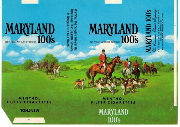 Maryland 100's Menthol Filter - vintage American Cigarette Pack