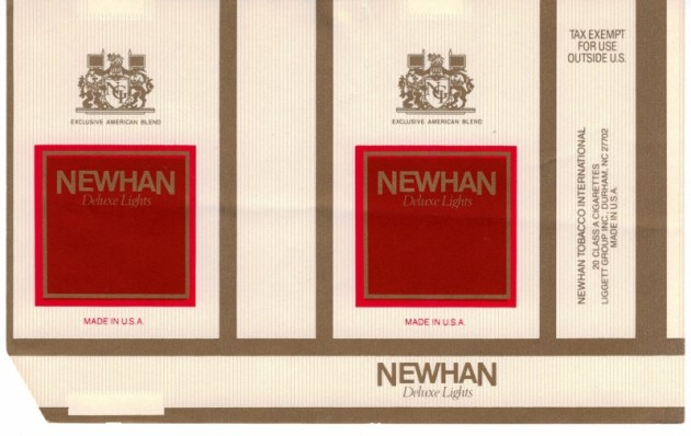 Newhan Deluxe Lights - vintage American Cigarette Pack