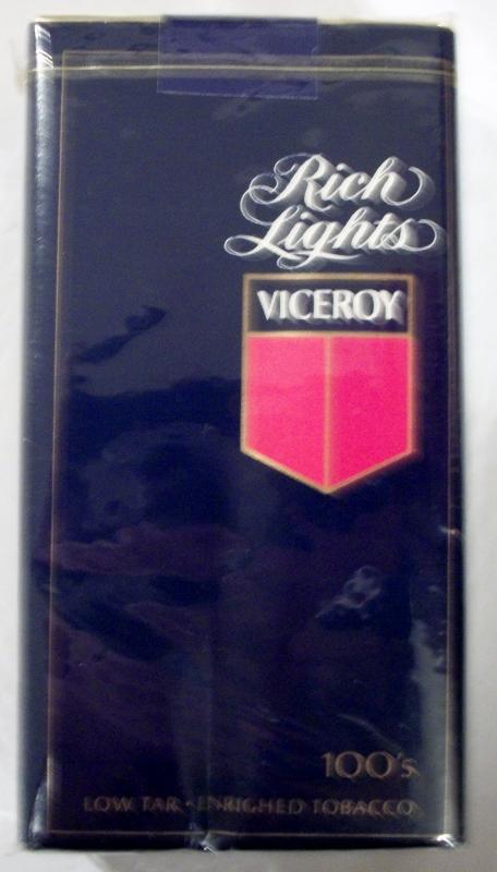 Viceroy Rich Lights 100's - vintage American Cigarette Pack
