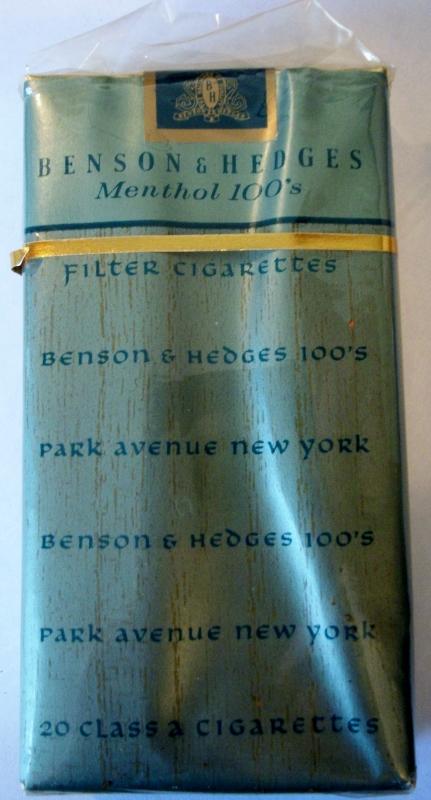 Benson & Hedges Menthol 100's Park Avenue - vintage American Cigarette Pack