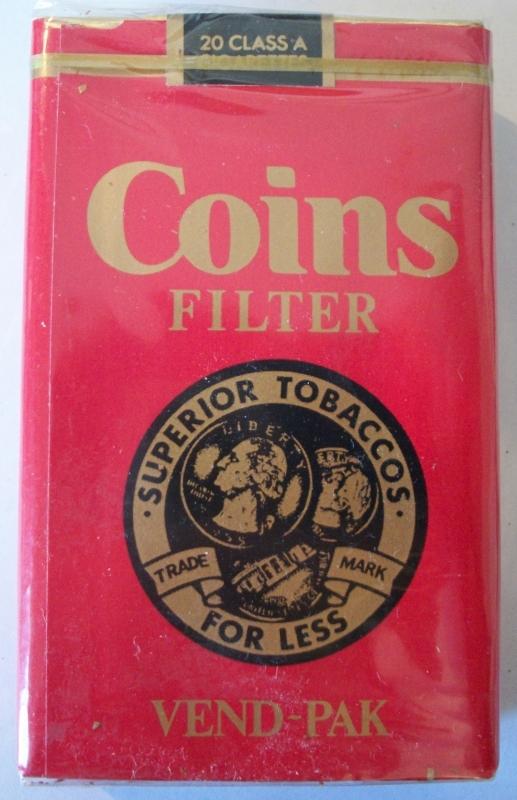 Coins Filter Vend-Pak - vintage American Cigarette Pack