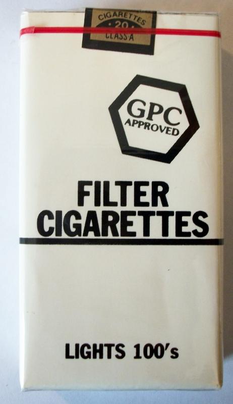 GPC Approved Filter Lights 100's - vintage American Cigarette Pack