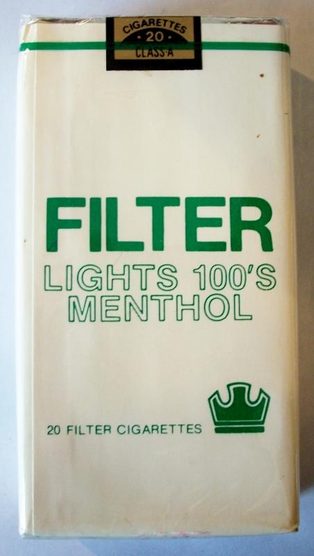 Filter Lights 100's Menthol - vintage American Cigarette Pack