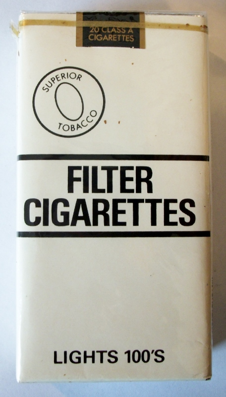 Superior Tobacco B&W Filter Lights 100's - vintage American Cigarette pack