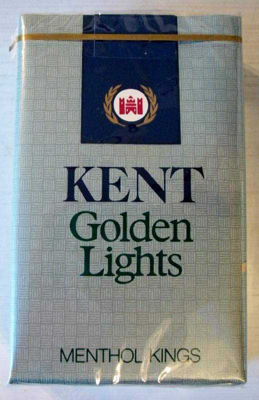 Kent Golden Lights menthol kings - vintage American Cigarette Pack