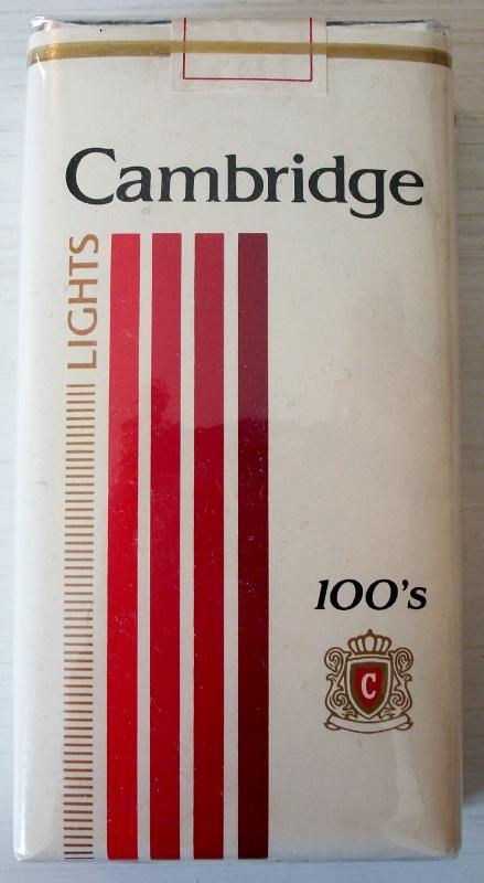 Cambridge 100s Lights - vintage American Cigarette Pack
