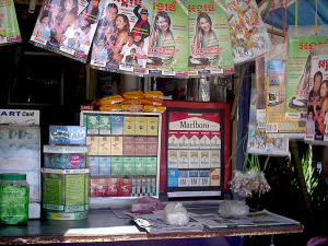 Stores and shops in Cambodia selling cigarettes