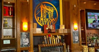 Multiple beer taps at the Drew Estate lounge at Famous Smoke in Easton, PA