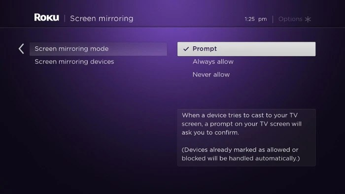 screen mirroring mode setting on Roku device
