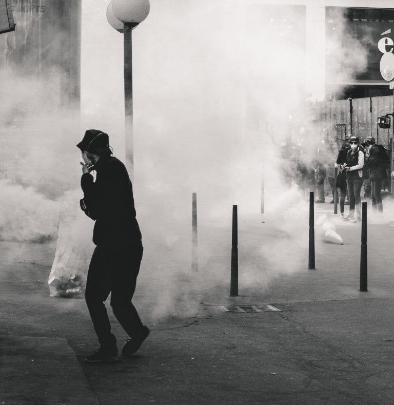 """Police fires tear gas at Yellow Vest demonstrators during the 25th weekend of protests in the streets of Lyon, France.Police violence is at its highest since the 1950s. There is an extensive use of tear gas, sting-ball grenades and LBDs (""""defense ball launchers"""") against largely peaceful protestors. According to official numbers, as of now, 1.428 tear gas grenades and 13.460 rubber bullets have been fired.As of now (May 5th, 2019), 23 persons lost an eye and 5 persons their hand during protests (source: mediapart.fr, http://tiny.cc/6hd85y)."""