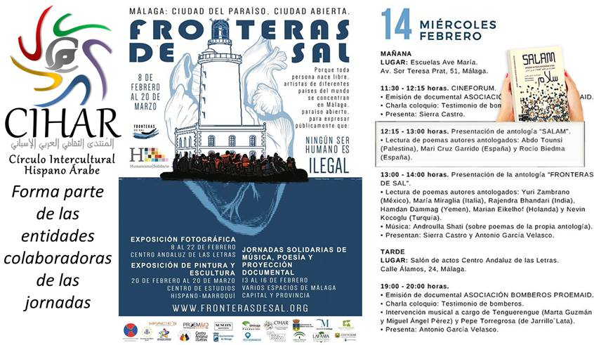 """La antología SALAM en Las jornadas de """"Fronteras de sal"""" Málaga"""