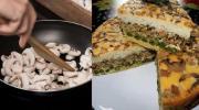 Шикарний багатошаровий пиріг з грибами. Спосіб приготування на кефірному тісті