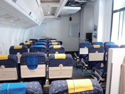 Inside the fake airplane cabin