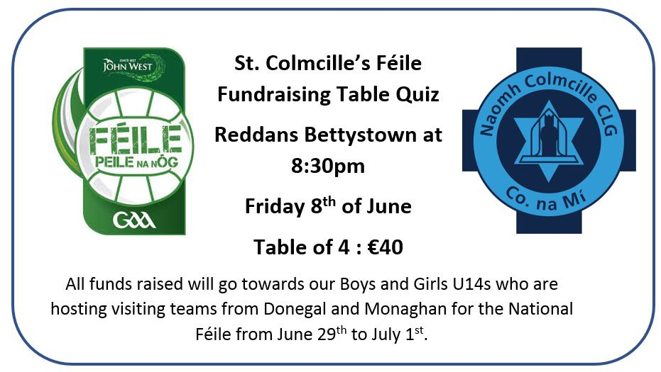 Table Quiz On Friday For Féile
