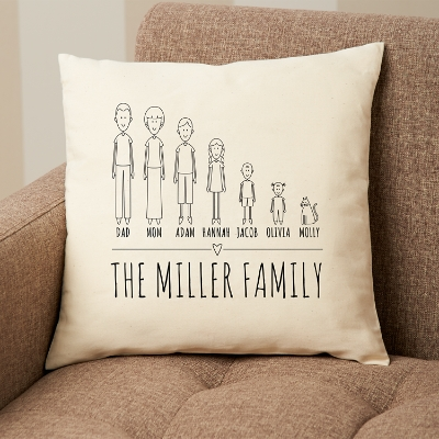 cast of characters family throw pillow