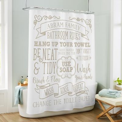 bathroom rules shower curtain