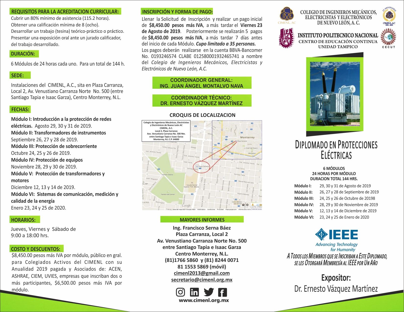 Diplomado En Protecciones Eléctricas Cimenl Ac