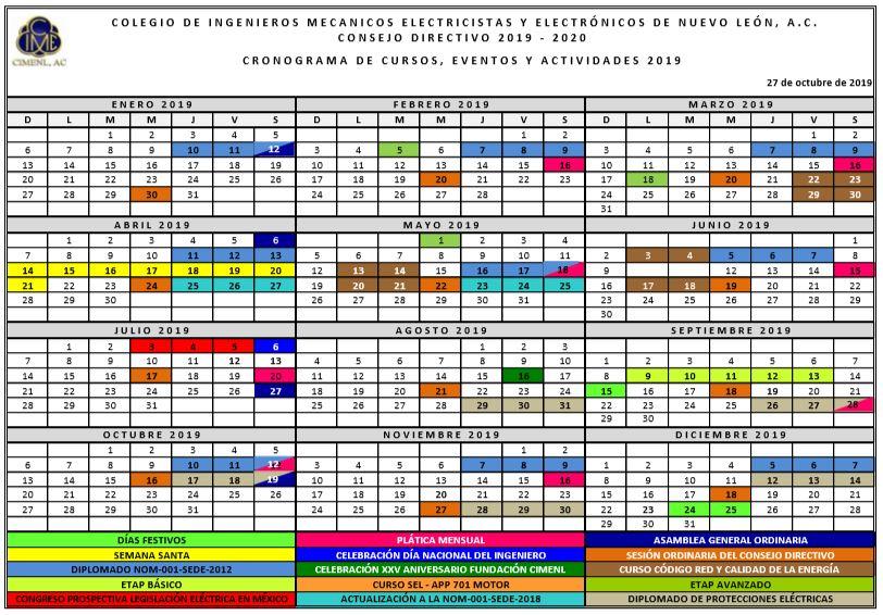 2019 10 27 CIMENL Cronograma Eventos Y Actividades 2019 2020