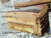 the layers of the Prestige ganche cake,