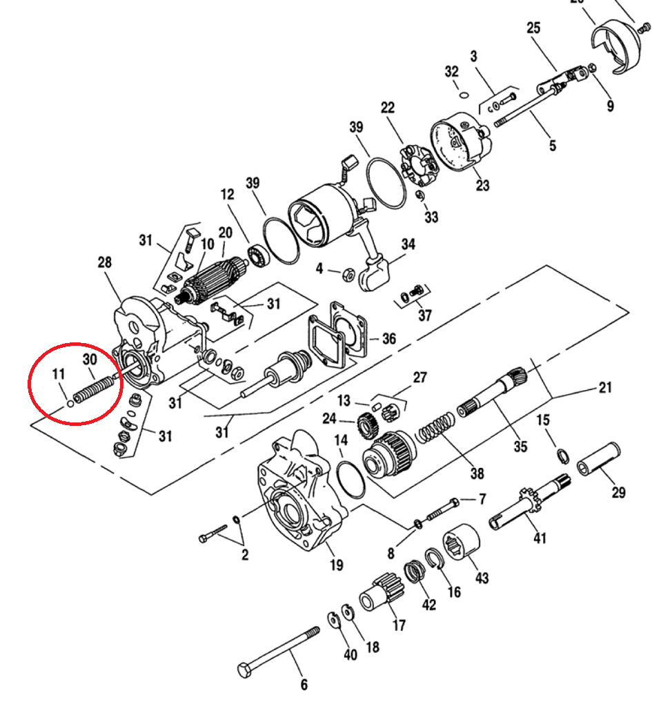 hight resolution of exploded view of starter highlighting ball and spring