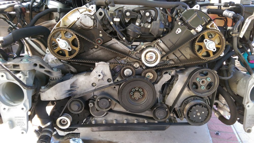 medium resolution of with the radiator removed you can remove the timing belt covers and bask in the glory of the audi clockwork