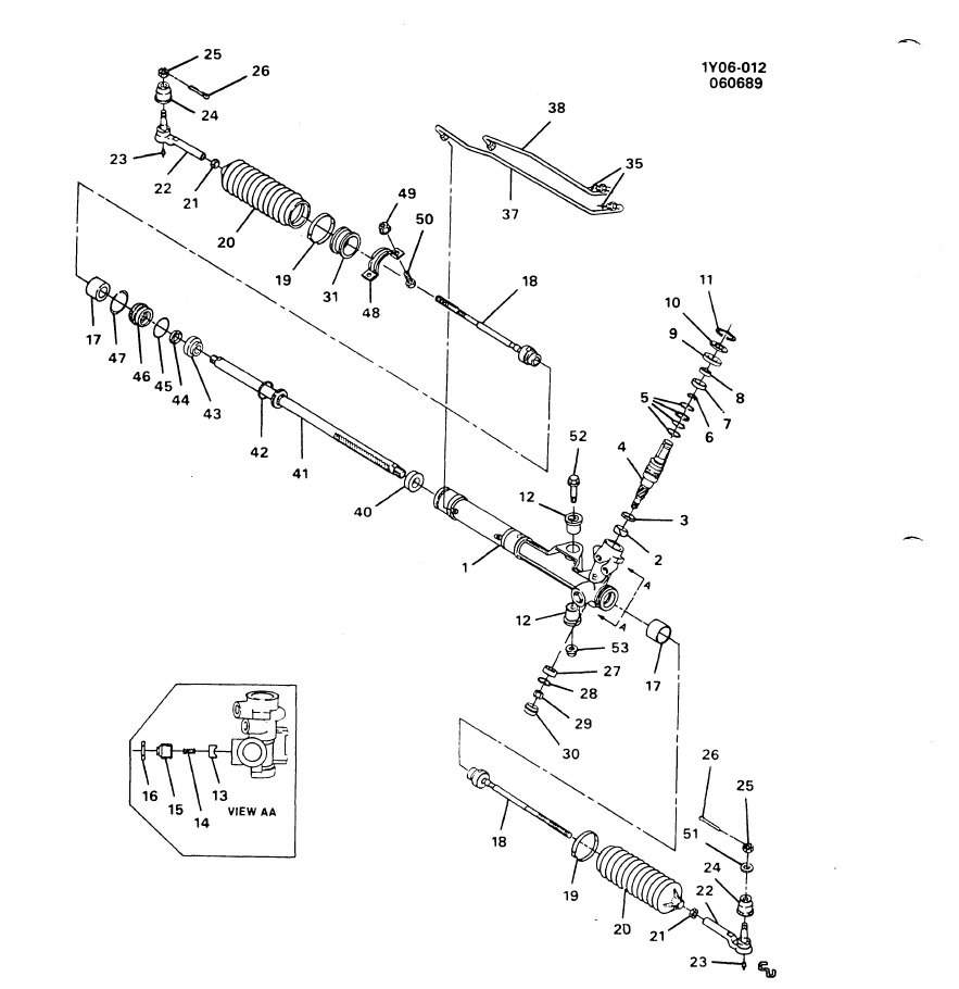 1989 Power steering rack and pinion diagram