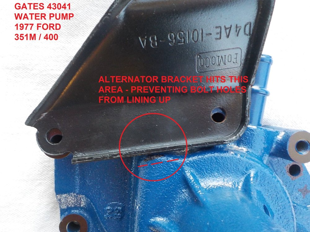 medium resolution of 351m 400 gates 43041 water pump and alternator bracket clearance issue problem