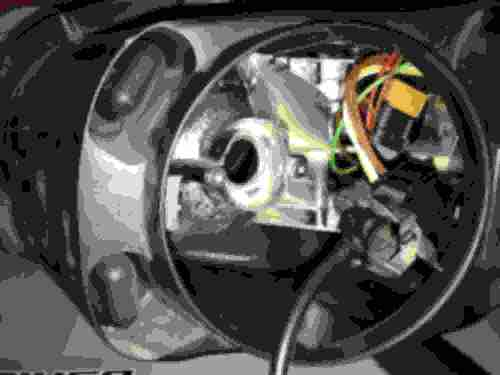 small resolution of stock headlight assembly with h7 high beam bulb removed led driver cable plugged into stock high beam bulb connector