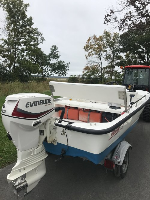 small resolution of new evinrude e tec 40 with power trim tilt start new bottom paint after hull restored new stainless folding seat back rest