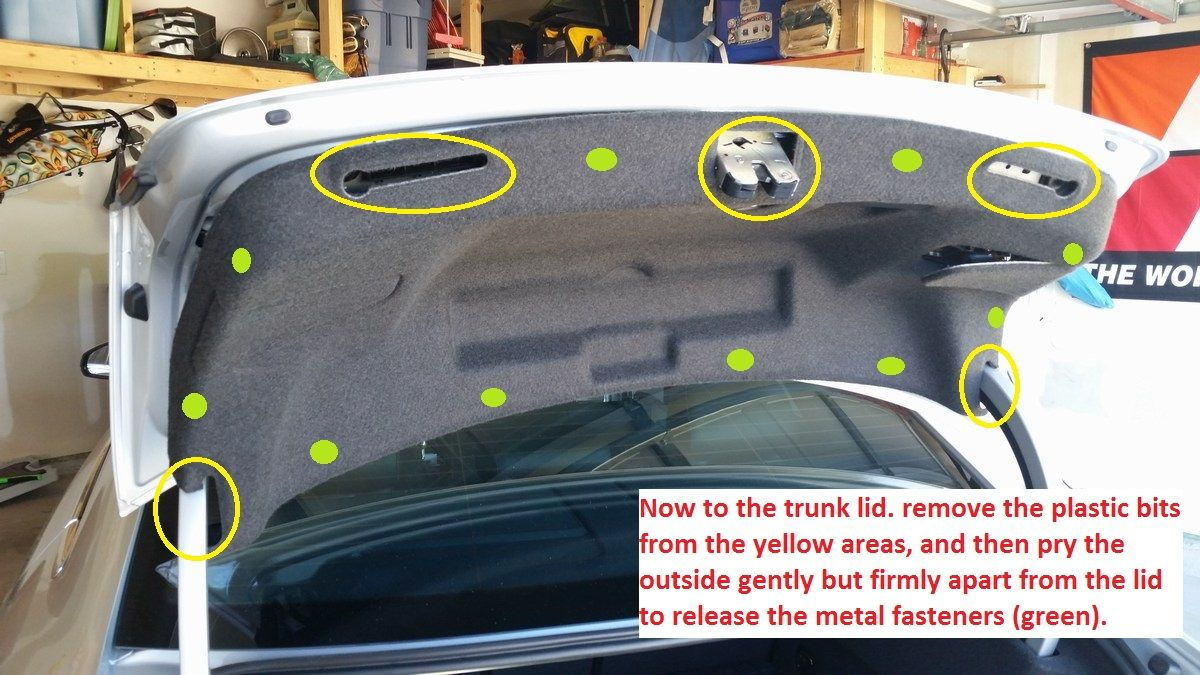hight resolution of figure 9 remove the plastic pieces and pry the trunk lid liner out