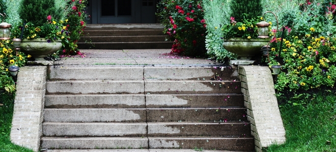 10 Options For Fixing Slippery Concrete Steps Doityourself Com | Repairing Outdoor Wooden Steps | Stair Stringer | Concrete Slab | Deck Stairs | Concrete Porch | Deck