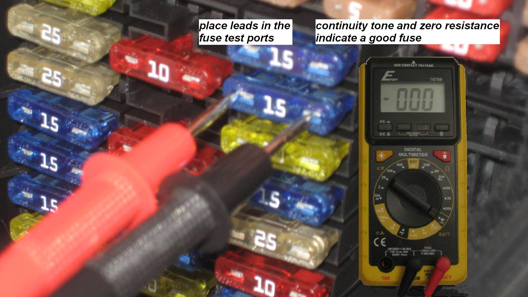 hight resolution of testing fuses in place with a multimeter