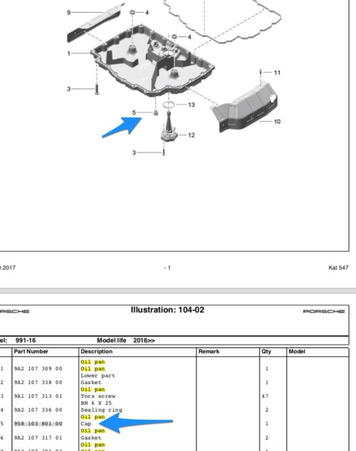 small resolution of downloaded the pet parts diagrams for 991 2 looks like the part number for our oil drain is 958 103 801 00 list price under 7