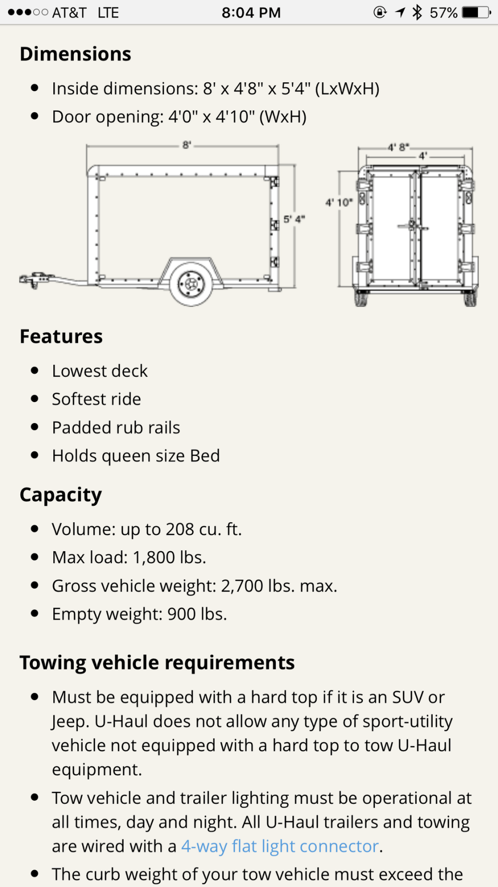 medium resolution of u haul lists this trailer as having a width of 4 8 56 the inside dimension of your mirrors is 1691mm 66 57 with each mirror starting a full 5
